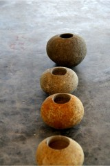 River stone candle holder